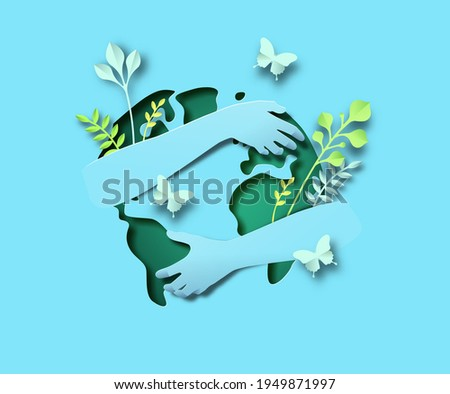 Paper cut human hands hugging earth planet illustration of green world map with plant leaf garden. Global environment love concept, 3d origami design on isolated background.
