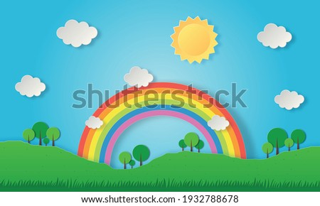 paper cut landscape nature green with rainbow. art style. vector Illustration.