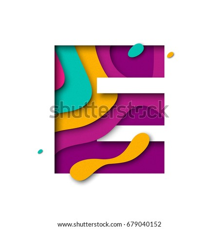 Paper cut letter E. Realistic 3D multi layers papercut effect isolated on white background. Colorful character of alphabet letter font. Decoration origami element for birthday or greeting design