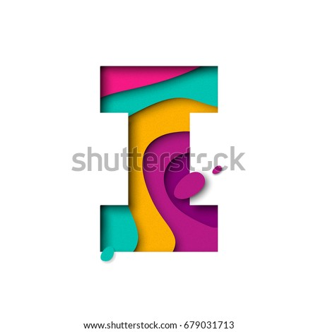 Paper cut letter I. Realistic 3D multi layers papercut effect isolated on white background. Colorful character of alphabet letter font. Decoration origami element for birthday or greeting design.