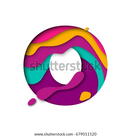 Paper cut letter O. Realistic 3D multi layers papercut effect isolated on white background. Colorful character of alphabet letter font. Decoration origami element for birthday or greeting design