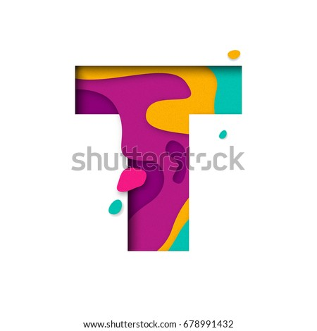 Paper cut letter T. Realistic 3D multi layers papercut effect isolated on white background. Colorful character of alphabet letter font. Decoration origami element for birthday or greeting design
