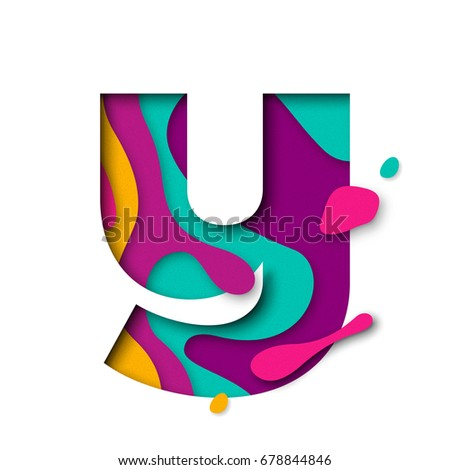 Paper cut letter Y. Realistic 3D multi layers papercut effect isolated on white background. Colorful character of alphabet letter font. Decoration origami element for birthday or greeting design