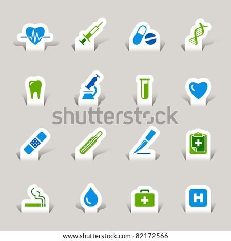 Paper cut - Medical icons