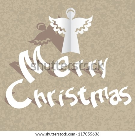 Paper cut Merry Christmas background with angel, vector