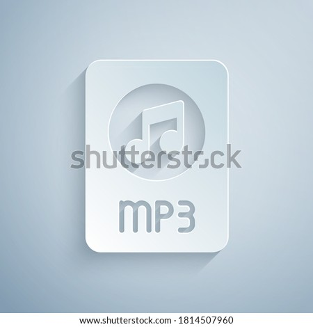 Paper cut MP3 file document. Download mp3 button icon isolated on grey background. Mp3 music format sign. MP3 file symbol. Paper art style. Vector. Stock photo ©