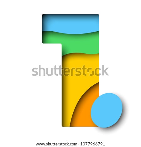 paper cut multicolor number 1 with realistic 3d layers for greeting cards, posters, invitations, brochures