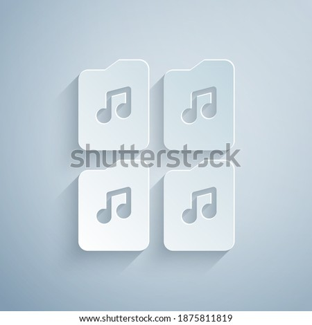 Paper cut Music file document icon isolated on grey background. Waveform audio file format for digital audio riff files. Paper art style. Vector. Stock foto ©
