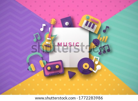Paper cut music icon template with white copy space frame. Colorful retro style musical instrument decoration for live concert event banner, festival brochure or audio store.