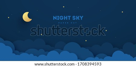Paper cut night sky. Dreamy background with moon stars and clouds, abstract fantasy background. Vector origami styling design backdrop illustration.