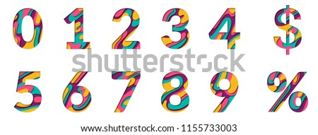Paper cut numbers. Blue pink 3D multi layers papercut effect isolated on white background. Figures of alphabet letter paper cut font. 0 1 2 3 4 5 6 7 8 9 numbers for birthday or wedding anniversary.