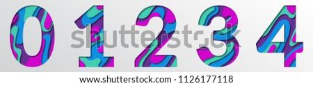 paper cut numbers blue violet