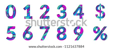 Paper cut numbers. Blue violet 3D multi layers papercut effect isolated on white background. Figures of alphabet letter paper cut font. 0 1 2 3 4 5 6 7 8 9 numbers for birthday or wedding anniversary.