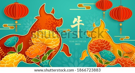 Paper cut of two oxen shape with paper graphic of flowers and red lantern. Happy Chinese New Year 2021. Year of Ox. Translation - Ox.