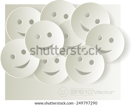 paper cut out smiley faces on