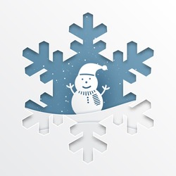 paper cut out snowflakes on background with snowman,paper art style illustration.