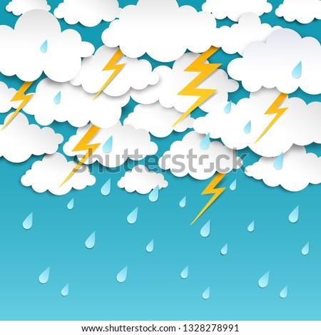 paper cut rainy sky storm