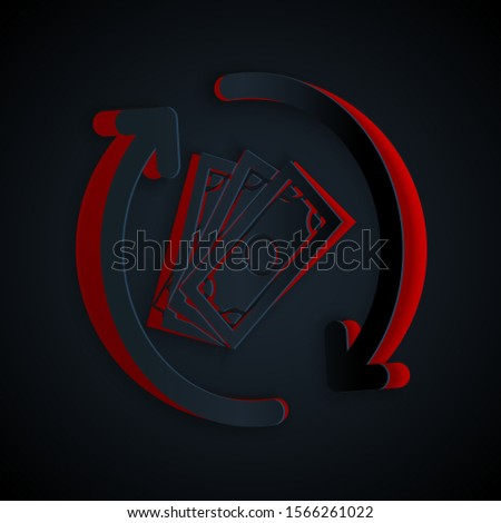 Paper cut Refund money icon isolated on black background. Financial services, cash back concept, money refund, return on investment, savings account. Paper art style. Vector Illustration