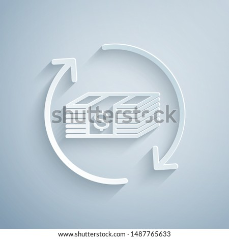 Paper cut Refund money icon isolated on grey background. Financial services, cash back concept, money refund, return on investment, savings account. Paper art style. Vector Illustration