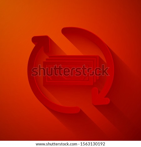 Paper cut Refund money icon isolated on red background. Financial services, cash back concept, money refund, return on investment, savings account. Paper art style. Vector Illustration