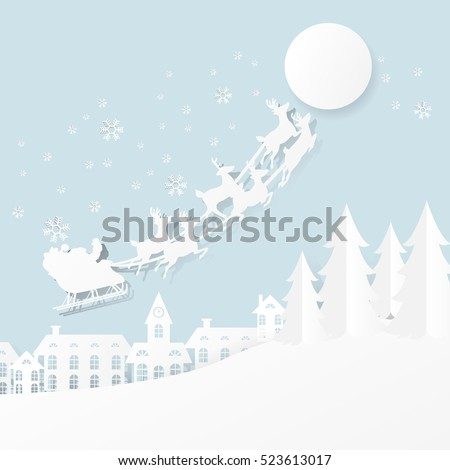 paper cut santa of merry christmas and happy new year,
