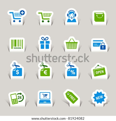 Paper cut - Shopping icons