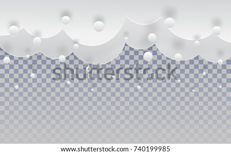 paper cut snow clouds in the...