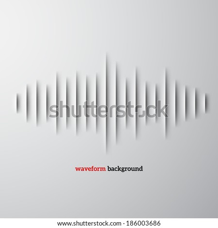 Paper cut sound waveform sign with shadow