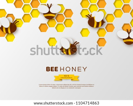 Paper cut style bee with honeycombs. Template design for beekeeping and honey product. White background, vector illustration.
