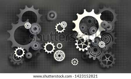 Paper cut style black and white gears and cogs on gray blueprint chalkboard background. Size ratio 1920x1080px. EPS10, VECTOR, Illustration. EPS10, VECTOR, Illustration.
