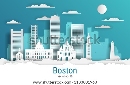 paper cut style boston city