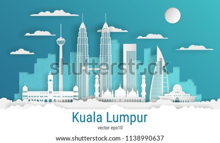 Paper cut style Kuala Lumpur city, white color paper, vector stock illustration. Cityscape with all famous buildings. Skyline Kuala Lumpur city composition for design