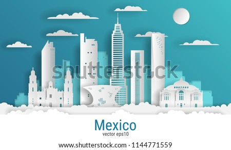 Paper cut style Mexico city, white color paper, vector stock illustration. Cityscape with all famous buildings. Skyline Mexico city composition for design