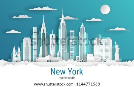 Paper cut style New York city, white color paper, vector stock illustration. Cityscape with all famous buildings. Skyline New York city composition for design