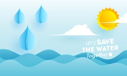 Paper cut style ocean view background with summer rainy for Save The Water concept.