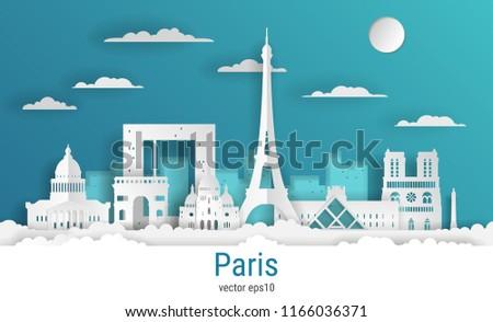 paper cut style paris city