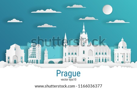paper cut style prague city