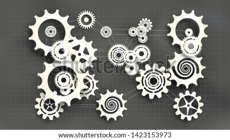 Paper cut style white gears and cogs on gray blueprint chalkboard background. Size ratio 1920x1080px. EPS10, VECTOR, Illustration. EPS10, VECTOR, Illustration.
