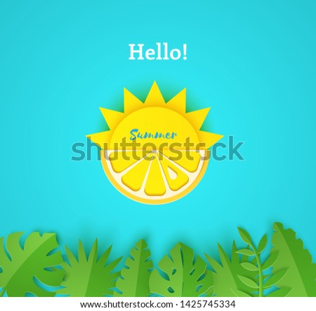 Paper cut summer card. Half sun and yellow lemon fruits on a blue background with jungle leaves. Vector illustration origami style.