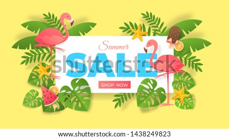 Paper cut summer sale. Abstract banner with flamingo and exotic leaves, special offer flyer. Vector sales origami poster design image on bright backgrounds