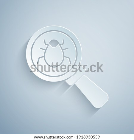 Paper cut System bug concept icon isolated on grey background. Code bug concept. Bug in the system. Bug searching. Paper art style. Vector.