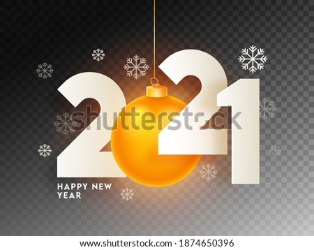 Paper Cut 2021 Text with Hanging Illuminated Golden Bauble and Snowflakes on Black Png Background for Happy New Year Celebration.