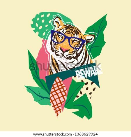Paper cut, Tiger tropical vector t-shirt print