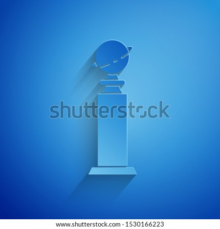 Paper cut Trophy Golden Globe icon isolated on blue background. Academy award icon. Films and cinema symbol. Paper art style. Vector Illustration