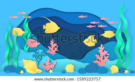 paper cut underwater aquarium