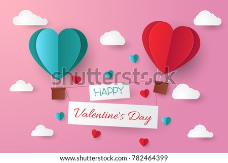 Paper cut valentine background.Vector illustration. #782464399