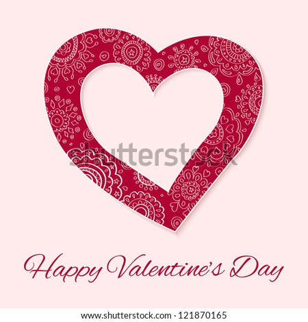 Paper cut valentine's day with floral ornaments on light pink background. Happy Valentine's Day.