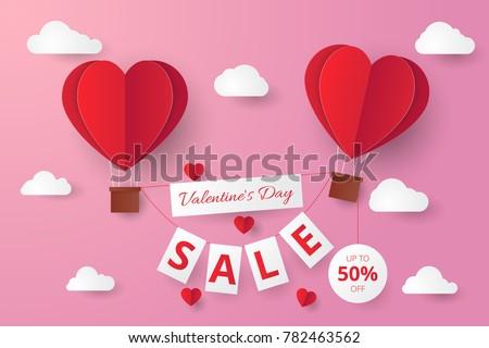 Paper cut valentine sale background.Vector illustration. Wallpaper, flyers, invitation, posters, brochure #782463562