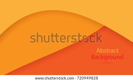 Paper cut Warm tone and Orange color background abstract art vector