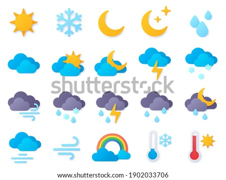 Paper cut weather icons. Symbols of rain, rainbow, sun, hot and cold temperature, winter snow and cloud. Meteo forecast pictogram vector set. Rain weather, paper craft meteorology icons illustration